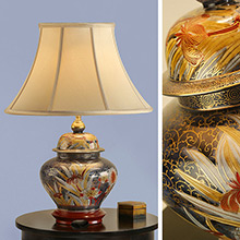 Kutani Lamp, Kew RJ315 Complete with Honey Shade