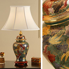 Kutani Lamp, Arboretum RJ329 with Oyster Shade