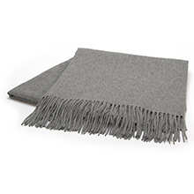 Sofia Cashmere Trentino Light Grey Fringed Cashmere Throw