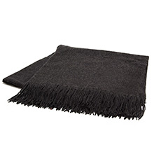 Sofia Cashmere Trentino Charcoal Fringed Cashmere Throw