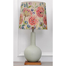Voyage Galina Lamp Duck Egg Matt Glazed Ceramic with Pom Pom Shade