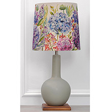 Voyage Galina Lamp Stone colour Matt Glazed Ceramic Lamp with Hydrangea Shade