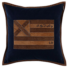 Grand Design US Leather Cross Cushion Navy