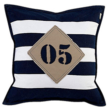 Grand Design 05 Canvas Patch Cushion Navy