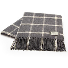 Foxford Grey Lambswool and Cashmere Windowpane Throw