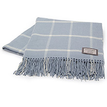 Foxford Parma Blue and White Windowpane Throw
