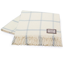 Foxford White and Parma Blue Windowpane Throw
