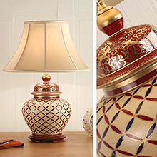 Kutani Lamp, Cross Stitch RJ 344, with Honey Shade