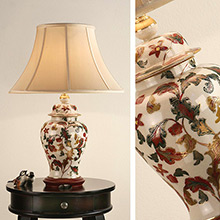 Kutani Lamp, Leaf Scroll RJ 336 with Oyster Shade