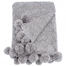 Walton & Co Cosy Knit Pom Pom Throw Grey