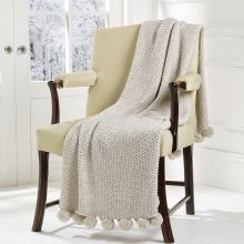 Walton & Co Cosy Knit Pom Pom Throw Linen