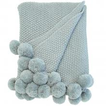 Walton & Co Cosy Knit Pom Pom Throw Opal