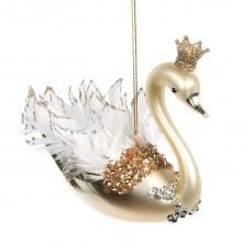 Goodwill Glass Feather Swan Ornament