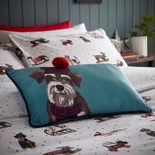 Fat Face Sledging Dogs Pom Pom Cushion
