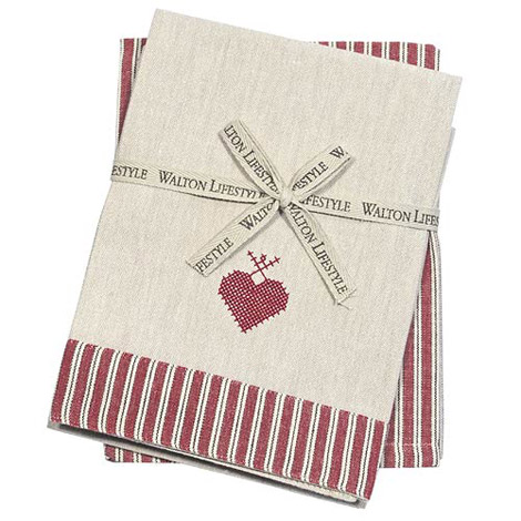 Walton & Co County Ticking Dorset Red Tea Towel Set (2)