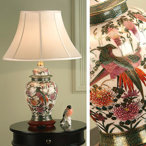 Kutani Lamp, Birds & Wisteria RJ446, with Oyster Shade