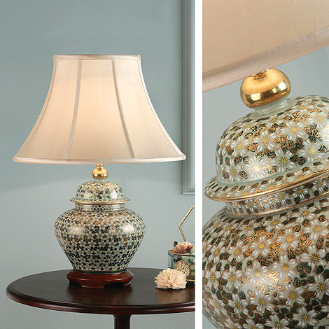 Kutani Lamp, White Daises RJ450 with Oyster Shade
