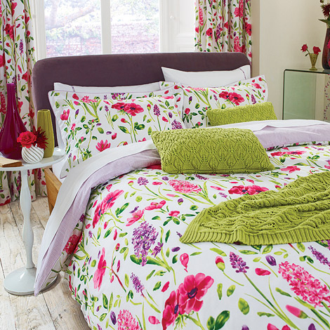 sanderson spring flowers in co ordinated duvet covers at. Black Bedroom Furniture Sets. Home Design Ideas