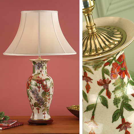 Kutani Lamp, Foxgloves RJ433 with Oyster Shade