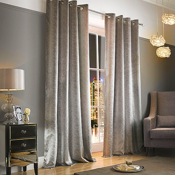 Kylie Minogue At Home Adelphi Mist In Ready Made Curtains Metal Eyelet Style Heading At