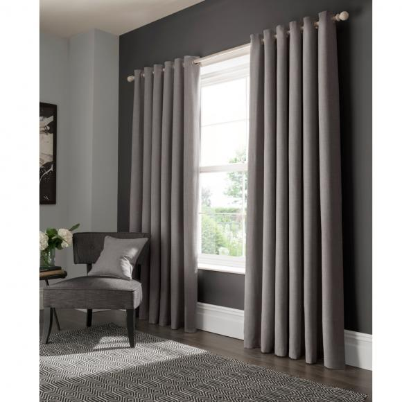 Studio G Elba Grey Eyelet Curtains In Ready Made Curtains