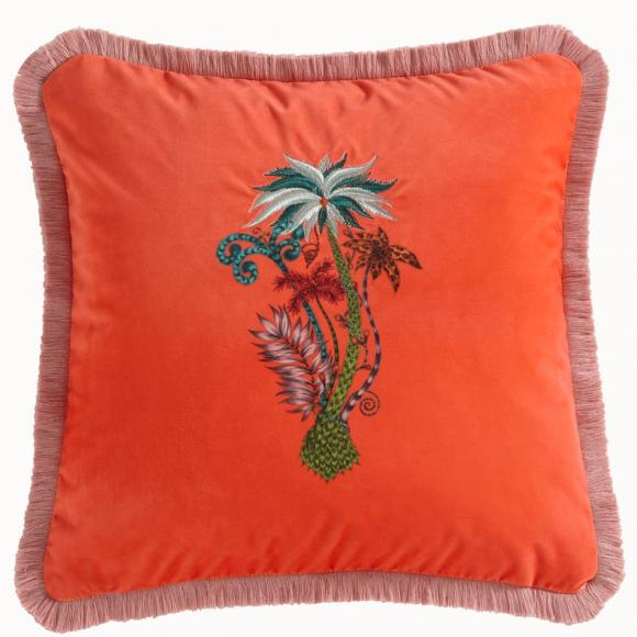 Emma J Shipley for Clarke & Clarke Jungle Palms Square Velvet Cushion