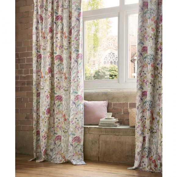 """FLORAL MEADOW FLOWERS WHITE LINED 66/""""X72/""""-168CMX183CM PENCIL PLEAT CURTAINS"""